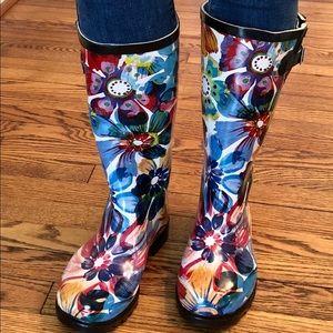 Super Cute Vibrant Floral Rain Boots.